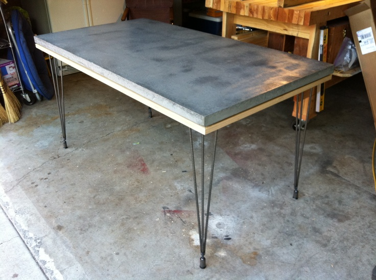 Lightweight composite concrete table top, urethane coating, recycled ikea laminated bed frame