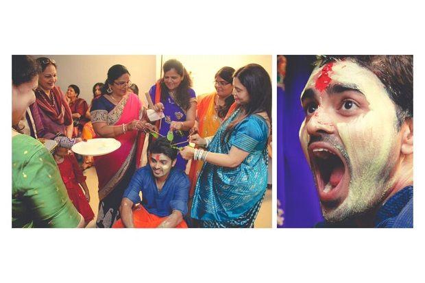 Fun Wedding Photo of Groom during Haldi. A candid wedding photography by sandeep gadhvi photography at Vadodara,Gujarat.