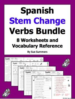 Spanish Stem Change Verbs Bundle - 8 Worksheets and Vocabulary Reference by Sue Summers. Vocabulary includes sports, city, food, time, and more.