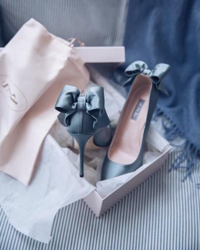 Blue dress up shoes hanging