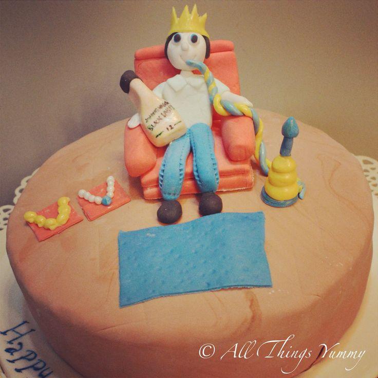 Birthday Cakes for Boys - Fondant Cake with a Fondant Boy, and Sheesha and Jack Daniels   All Things Yummy  #sheesha #hookah #jewellery #pearls #gold #jd #jackdaniels #liquorbottle #crown #carpet #rug #bluesaphire #boy #room #woodenfloor #atyummy #cake #designercake #customisedcake #chocolatecake