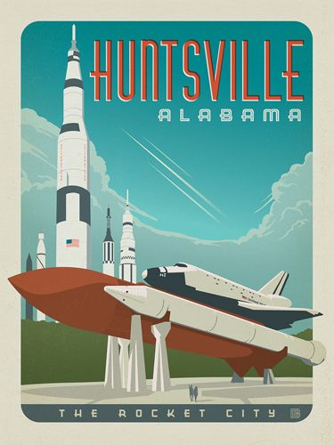 Huntsville, Alabama - Anderson Design Group has created an award-winning series of classic travel posters that celebrates the history and charm of America's greatest cities and national parks. Founder Joel Anderson directs a team of talented Nashville-based artists to keep the collection growing. This print celebrates the adventure of Huntsville, Alabama—Rocket City.<br />