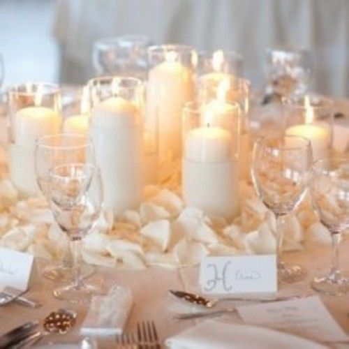this is nice and simple, candles and pedals. Wedding Table  DecorationsCenterpiece ...