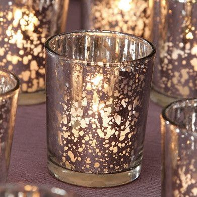 Beautiful David Tutera™ silver mercury glass votive cup. Add a stunning look to your wedding table decorations with these mercury glass votive candle holders in spotted silver. 12 votives per pack. -