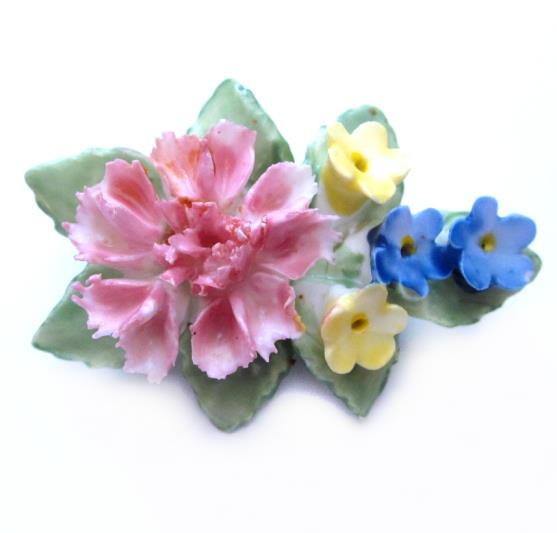 Vintage porcelain floral brooch