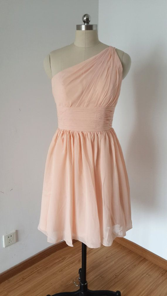 2015 One-shoulder Light Peach Chiffon Short by DressCulture