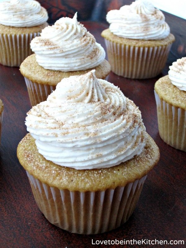 Snickerdoodle Cupcakes- These are just perfect! I love the pretty cinnamon/sugar sprinkle!