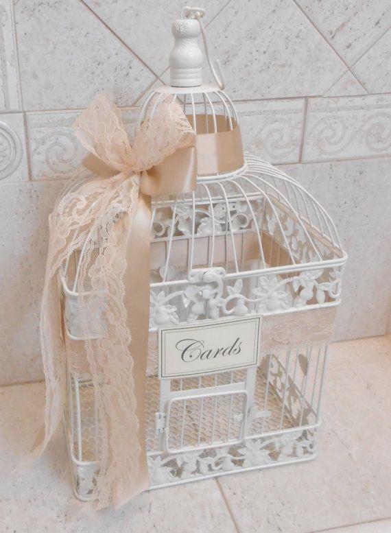 Large Ivory and Lace Wedding Card Box / Wedding Birdcage / Wedding Card Holder / Birdcage Card Holder / Ivory Wedding / Beach Wedding