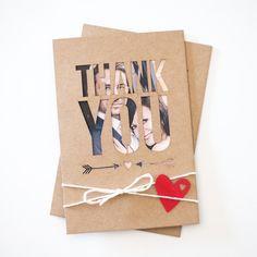 Danksagungskarten - Danksagungskarten | Kraftpapier - 5er Pack - ein Designerstück von boxDesign bei DaWanda