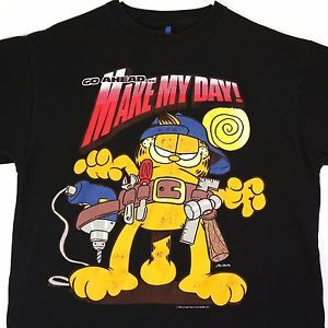 Vtg 70s 1978 Image Garfield Cat Go Ahead Make My Day Tool Belt T Shirt XL | eBay