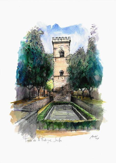 Torre de Don Fadrique, Sevilla.Acuarela y Tinta. 407x297mm. Papel canson 300gr