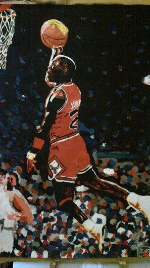 MAgic Air, Michael Jordan, Kunst, MW Art, Marion Waschk, Gemälde, Kunstmalerei, Künstler Hagen, Sport, Basketball, Sneaker, Ball, Künstlerfarben, Pinsel, Auftragsarbeit, MAlerei, Zeichnungen,