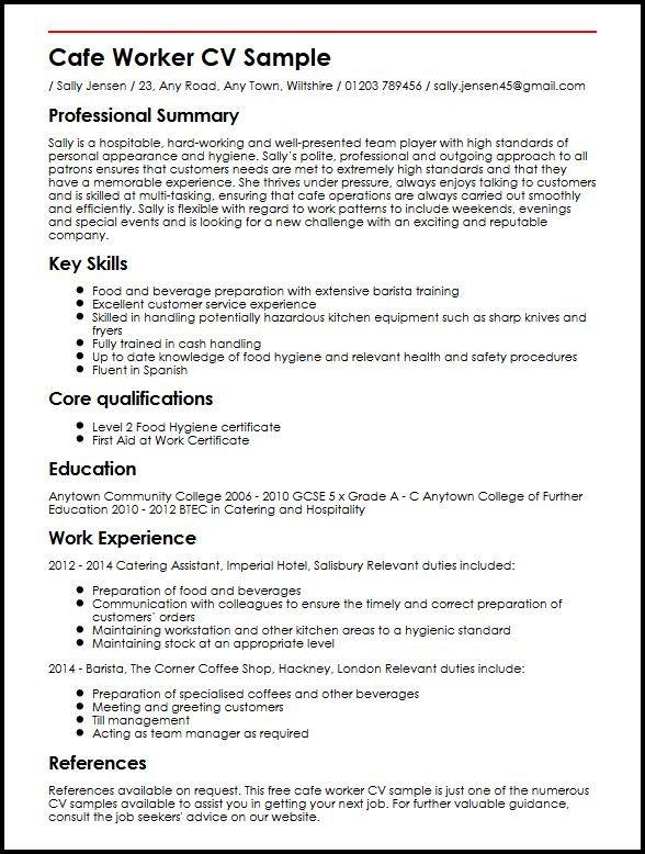 Cafe Worker Cv Sample Myperfectcv Job Resume Examples Job Resume Resume Examples
