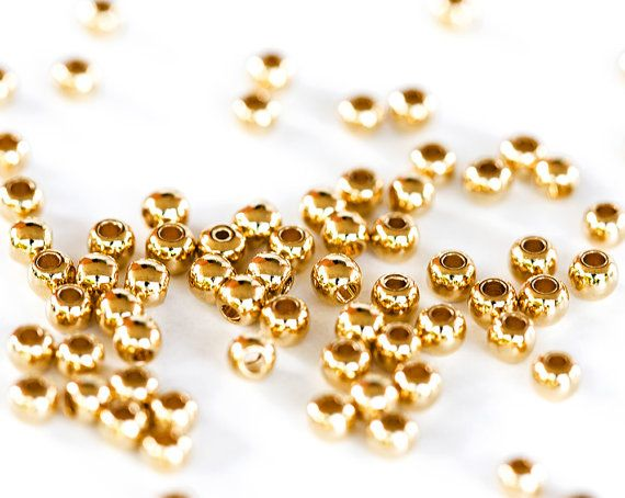 1789_Golden beads 2.5 mm, Round beads, Gold plated beads, Beads for jewelry, Round metal beads, Jewelry findings, Golden findings_50 pcs.