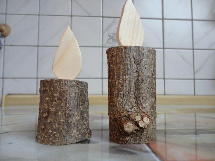 Kerzen Holz Handwerk Massiv Handarbeit Natur Ast Rustikal Landhaus 2°