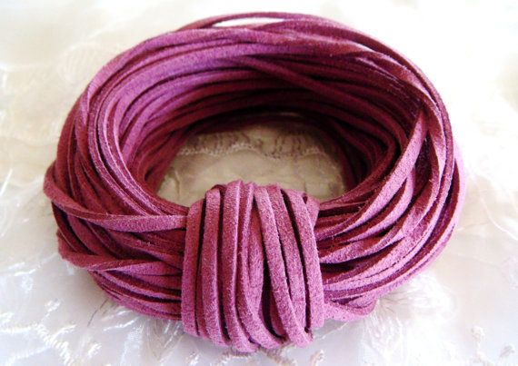Genuine Leather Suede Cord 3x1,5mm, Purple, Real Suede Lace - Sold in 2 yards/ 1,85m approx. Lengths