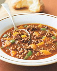 Hungarian Beef and Potato Soup   Substitute 1 lb. stew meat for hamburger and add 3/4 cup white wine and 1 TBS sugar to broth