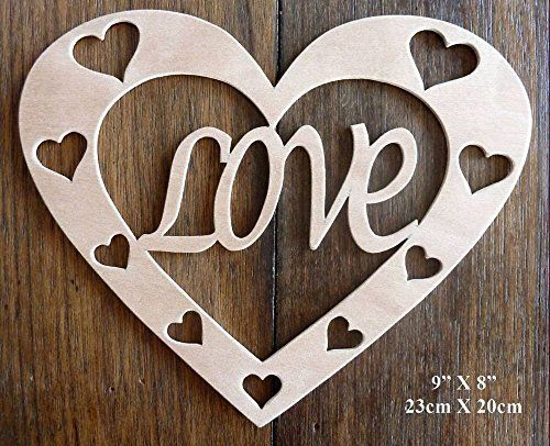 """Beautiful Large Sized Hand Crafted MDF 'Love Heart' Plaque - 9"""" x 8"""" - 9mm Thick by Greg Ledder http://www.amazon.co.uk/dp/B018TM8V06/ref=cm_sw_r_pi_dp_CRVxwb0H21F4D"""