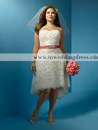 Lace plus size wedding dress with high low hemline bc247 for Hi lo hemline wedding dresses