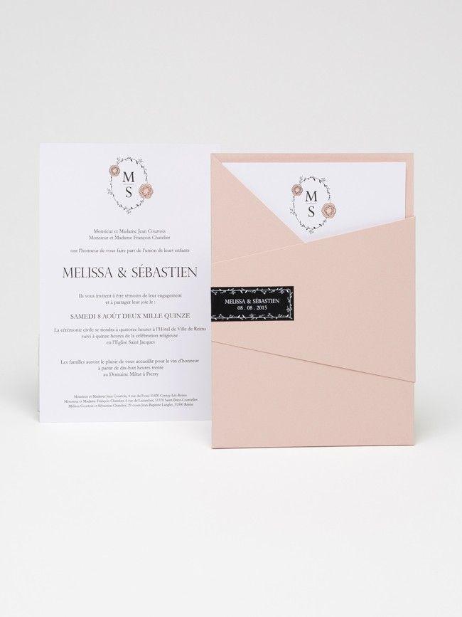 FAIRE PART DE MARIAGE / WEDDING INVITATION - TENDRESSE Rose poudré - Atelier 225