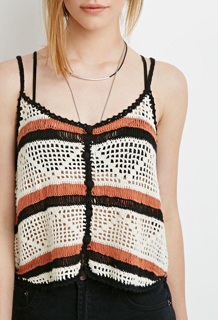 Regata de croche - Forever 21 ,Buttoned Crochet Cami