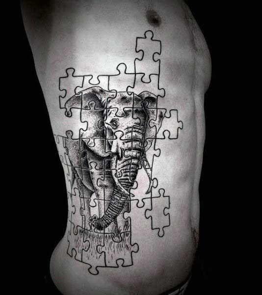 Elephant Puzzle Man Tattoo On Ribs