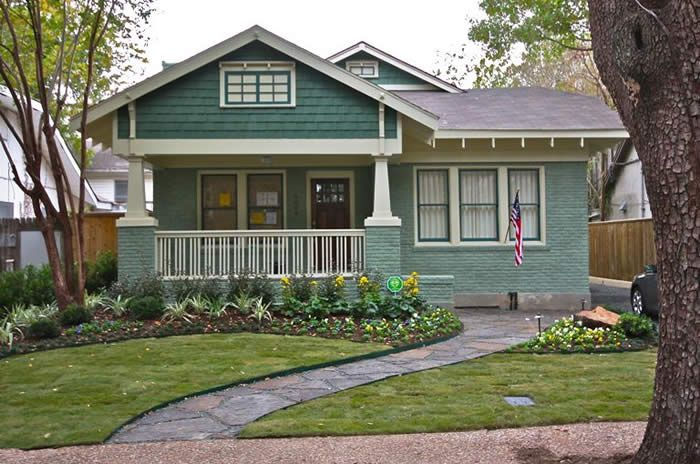 Bungalow with medium blue-green painted brick, darker blue-green shingles, and off-white trim - Walker Bungalow, Houston, Texas - Historic House Colors