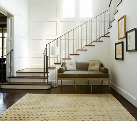simple. clean.Thompson Custom, Custom Homes, Staircas Design, Grand Staircase, Living Room, Stairs Runners, House, Design Home, Wall Design