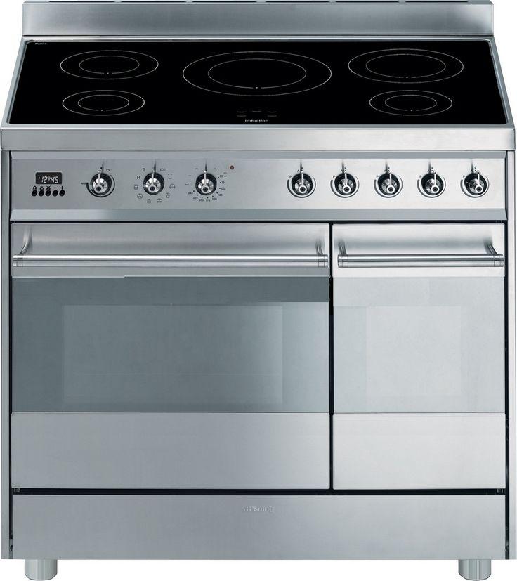 Inspirational  cm breed inductie fornuis uitgevoerd met dubbele oven en voorzien van een digitale kookwekker De grote oven van de Smeg CIPX is uitgevoerd met een