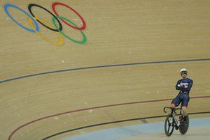 Jason Kenny during one of the breaks in a dramatic keirin race, which he would later win.