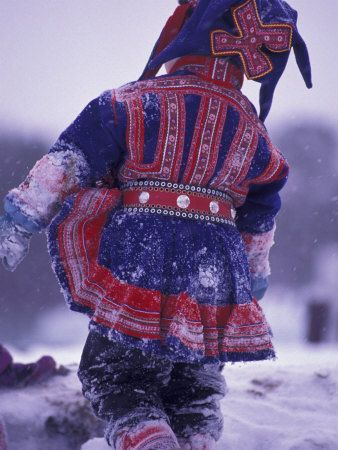Child in traditional Sami dress, Finland