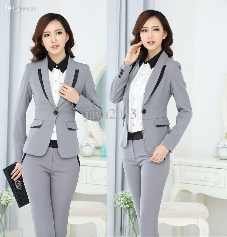 Best Quality Wholesale New 2015 Femininos Formal Pantsuits Women Suits Autumn And Winter Work Wear Office Ladies Blazer And Pant Uniform Set S 4xl Grey At Cheap Price, Online Women's Suits & Blazers | Dhgate.Com