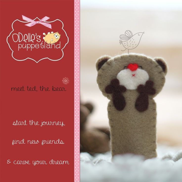 TED THE BEAR  is one of the 50 cute characters in odelle's puppetland. Each character here, is available for the finger puppet, pencil puppet  mini puppet. Get them for only rp7.000/each. Contact me: http://odellespuppetland.blogspot.com sms/wa : 0896 420 97 266 ping me! 7448EE1E  #fingerpuppet # puppet #odellespuppetland #handmade #craft  #felt  #boneka jari #bear #baby #kids #edutoys