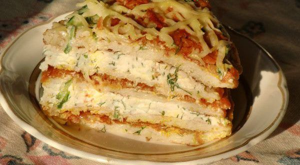 Закусочный торт из кабачков прелестно украсит семейный ужин или праздничное застолье. Приготовление ...