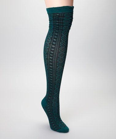 Take a look at this Teal Over-the-Knee Socks by Chinese Laundry on #zulily today! $5.99