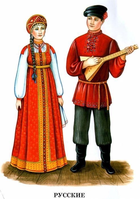 Russian national clothes with its national musical instrumet.
