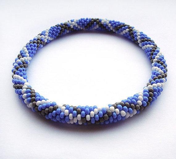 Crochet beads rope bracelet bangle ,denim blue ,white,grey, plus size fashion ,geometric  jewellery, gift for her, beadwork via Etsy