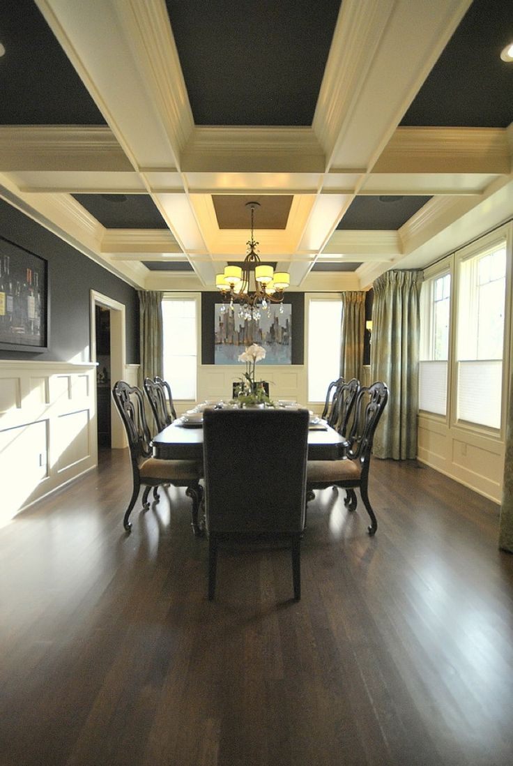Dining Room Ceiling Lights: Ceiling Beams And Wainscot With Painted Walls And Ceiling