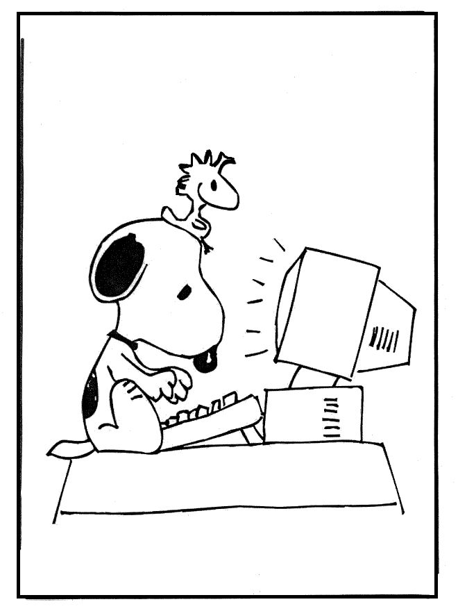 snoopy playing computer coloring pages for kids printable snoopy coloring pages for kids - Computer Coloring Pages Printable