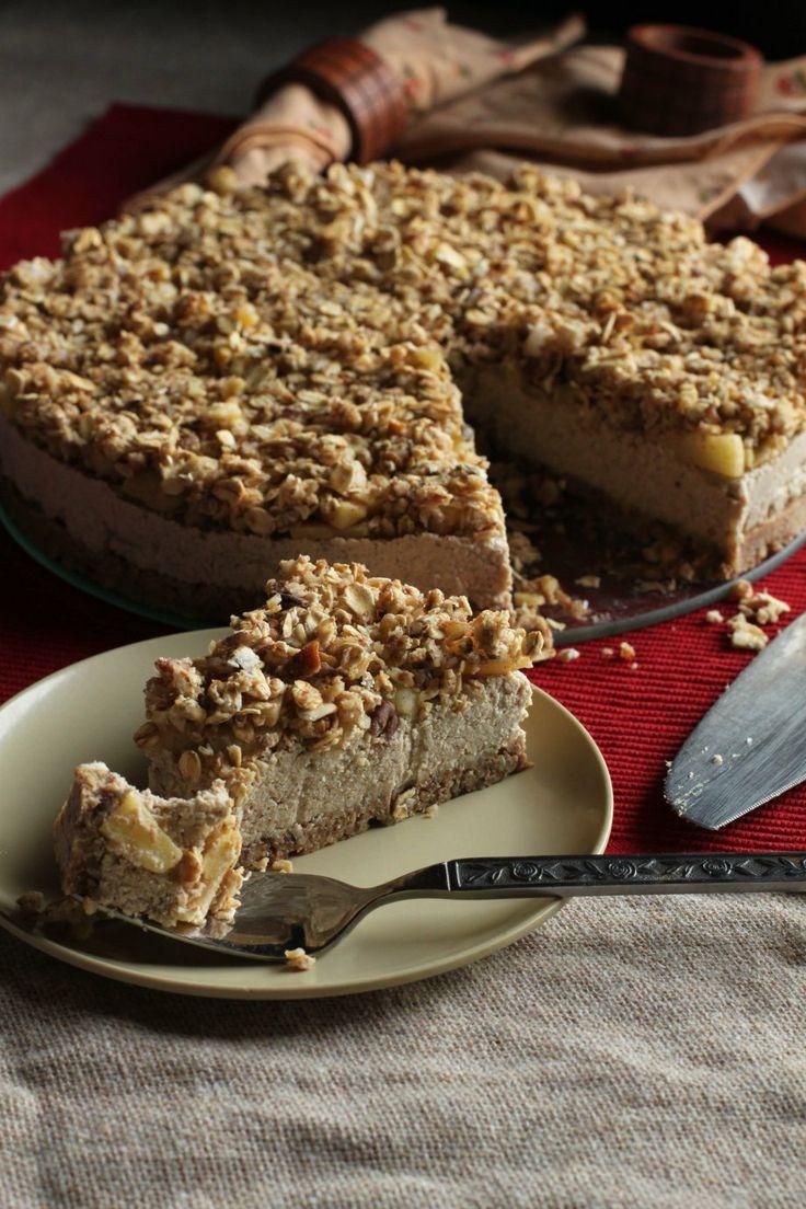 Raw Apple Crumble Cheesecake; gluten-free and vegan