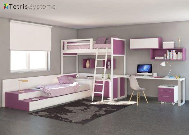Cama alta y nido inferior tetris con escritorio cuarto for 8x8 room design