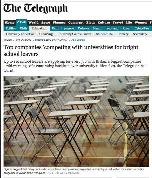 Top companies 'competing with universities for bright school leavers'