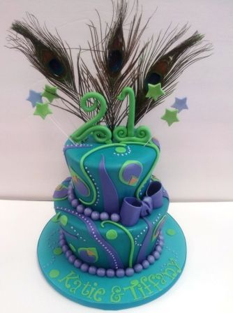 peacock cake | cake to celebrate 21st birthday. The birthday girls love peacock ...