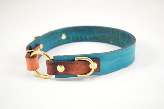 The Osgiliath Collar Teal Timber Leather Dog Collar Leather