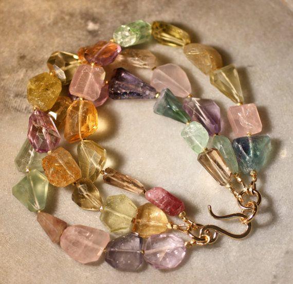 Multi Gemstone Bracelet por stonecraft en Etsy