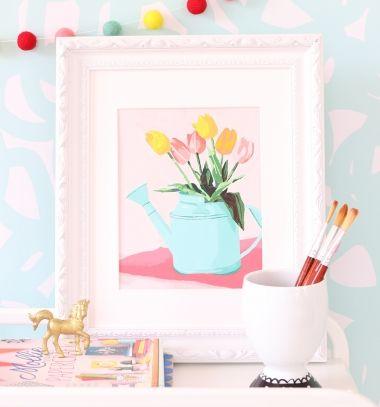 Tulips in a watering can - free printable paint by number // Tulipános kanna - ingyenesen letölthető festés számok után festőlap  // Mindy - craft tutorial collection