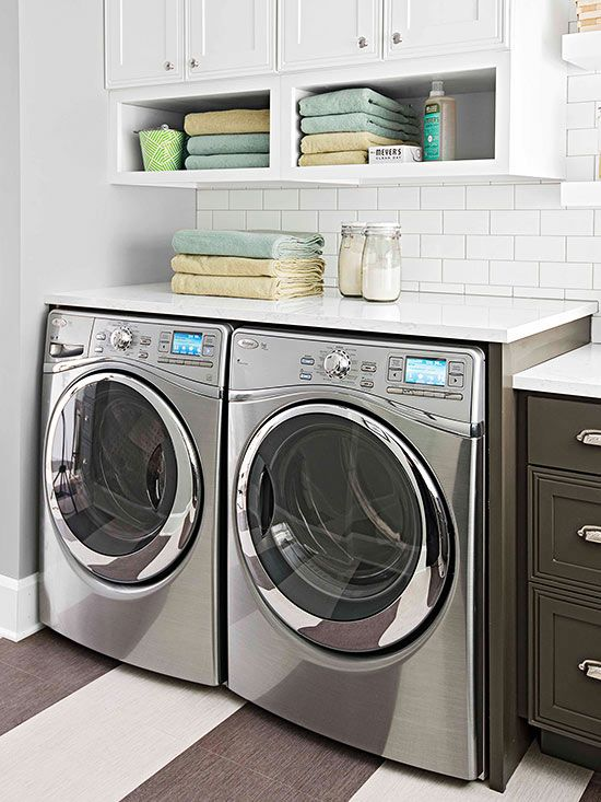laundry room: add cubbies to upper cabinets and folding counter above front loaders
