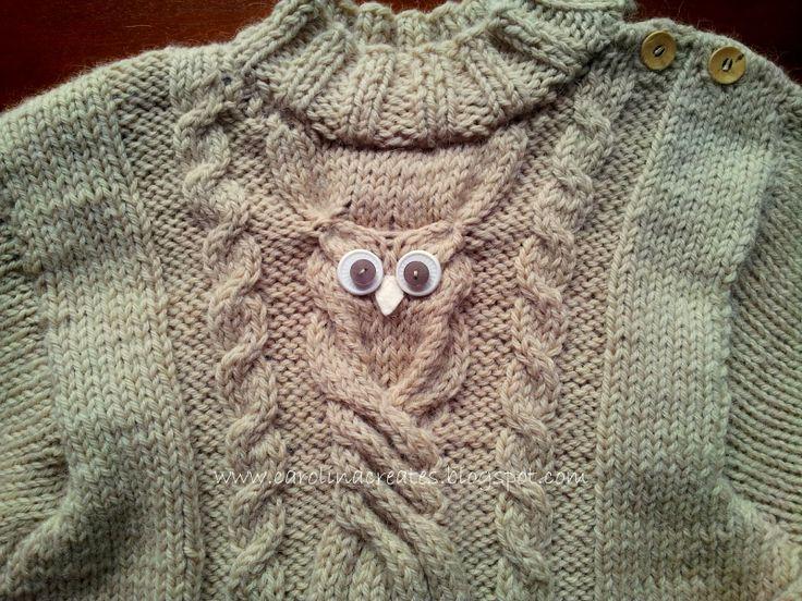 Carolina Creates - knitted Owl with button eyes and felt beak/ sowa na drutach z guzikowymi oczami i filcowym dziobem