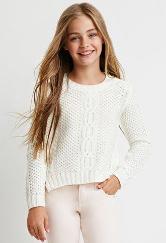 Girls Twisted-Seam Cable Knit Sweater (Kids)   Forever 21 girls - 2000171976