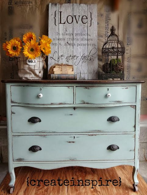 Antique Dresser in Duck Egg